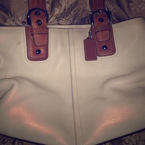 Coach leather white with lavender interior